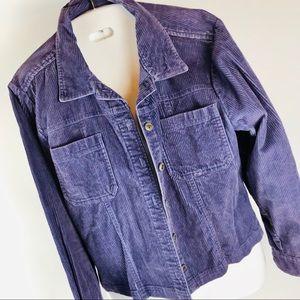 Dressbarn Shirt L Purple Corduroy LS Button Front
